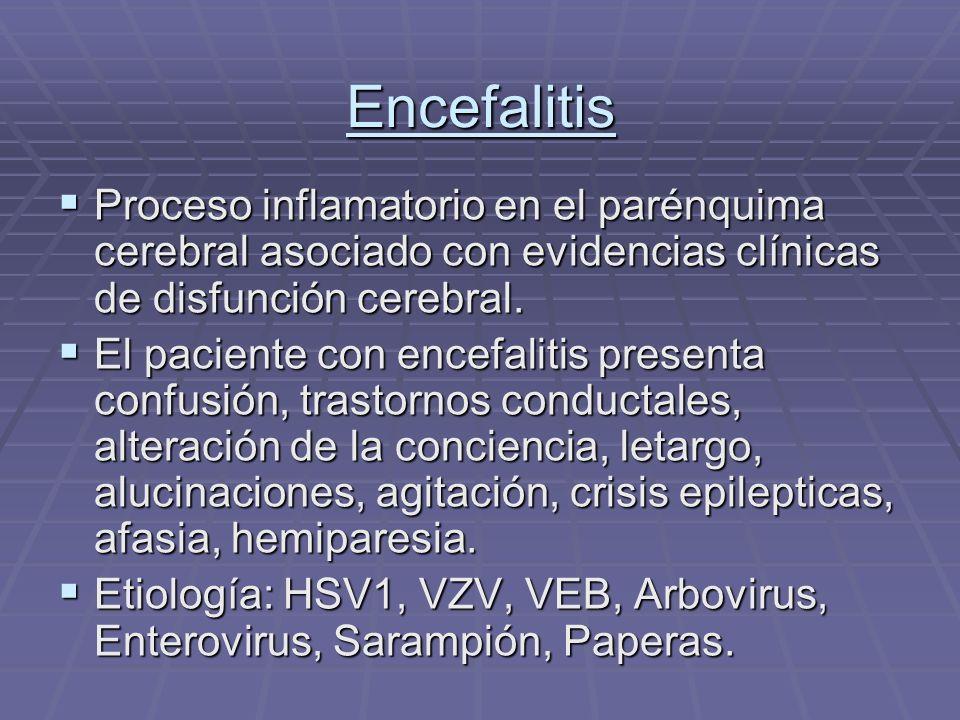 Encefalitis Proceso inflamatorio en el parénquima cerebral asociado con evidencias clínicas de disfunción cerebral.