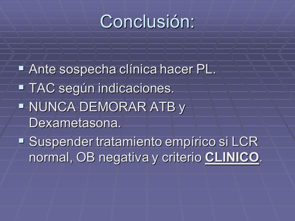 Conclusión: Ante sospecha clínica hacer PL. TAC según indicaciones.