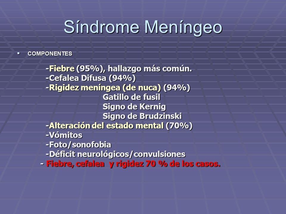 Síndrome Meníngeo -Fiebre (95%), hallazgo más común.