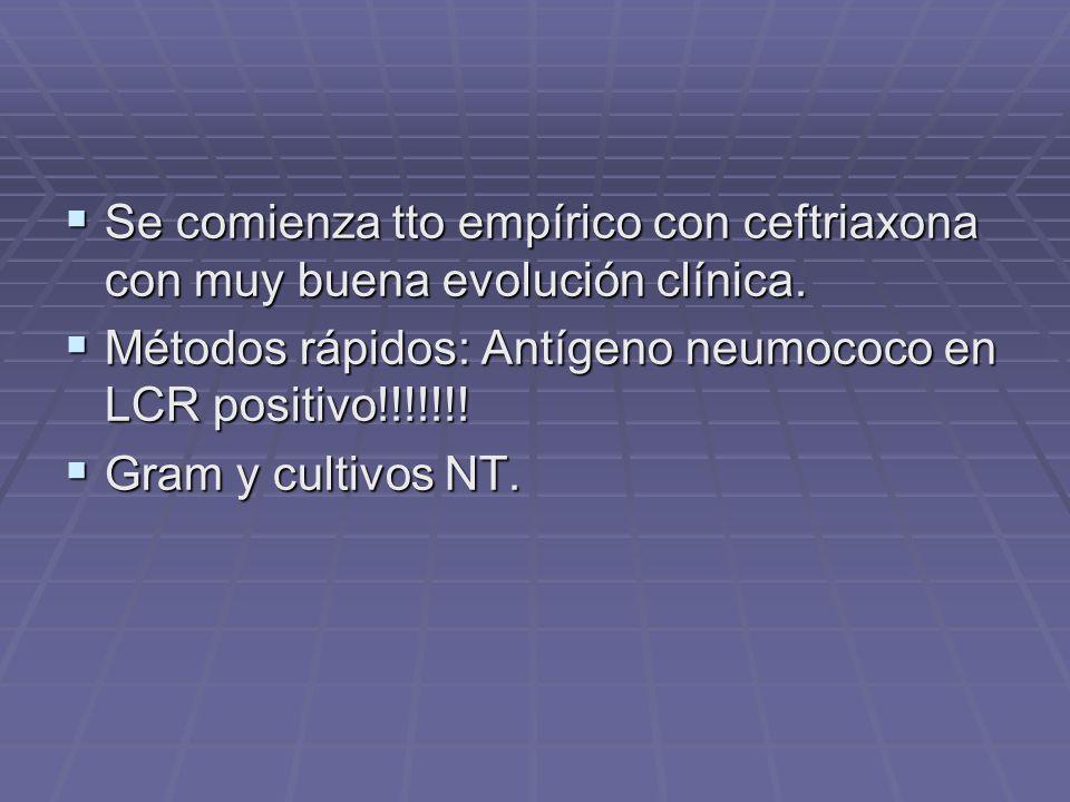 Se comienza tto empírico con ceftriaxona con muy buena evolución clínica.