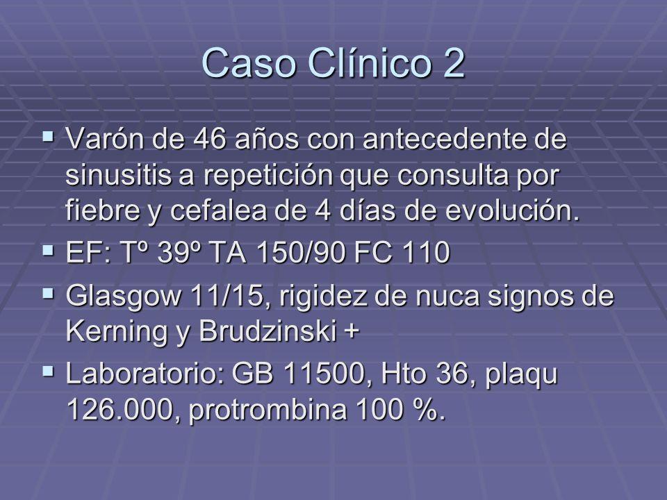 Caso Clínico 2 Varón de 46 años con antecedente de sinusitis a repetición que consulta por fiebre y cefalea de 4 días de evolución.
