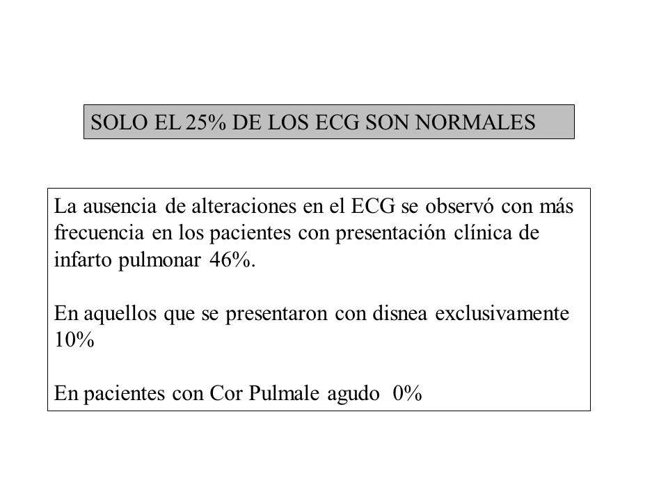 SOLO EL 25% DE LOS ECG SON NORMALES