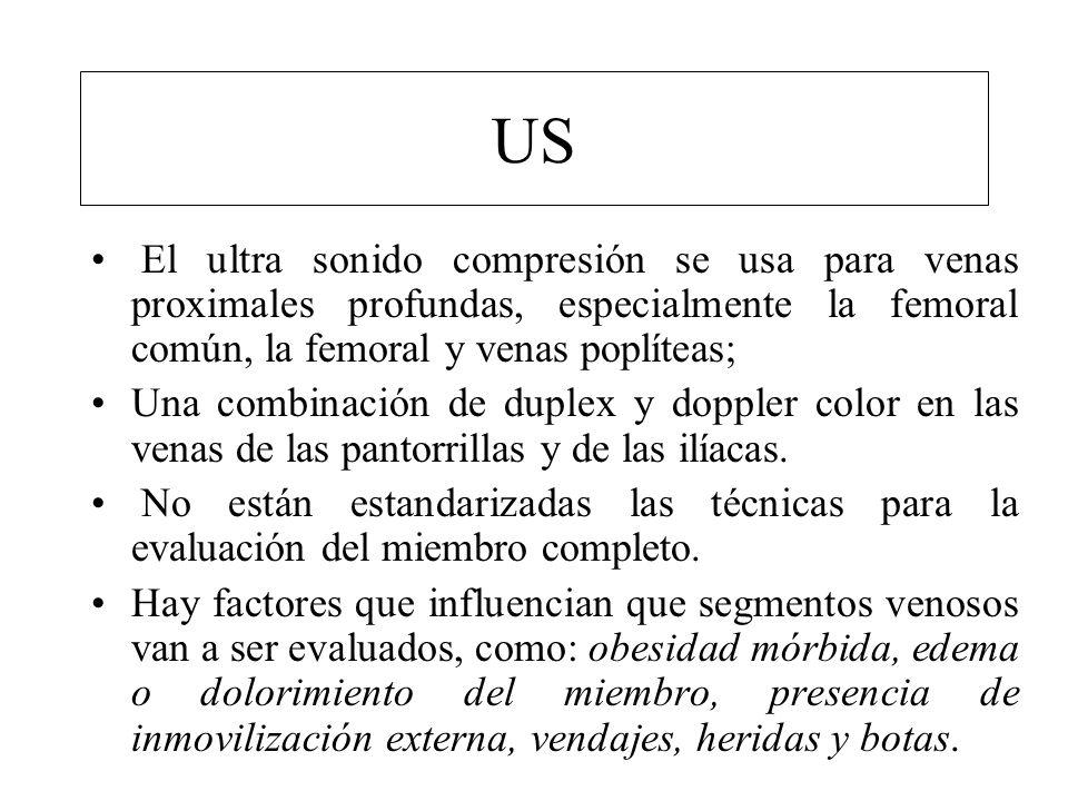 US El ultra sonido compresión se usa para venas proximales profundas, especialmente la femoral común, la femoral y venas poplíteas;
