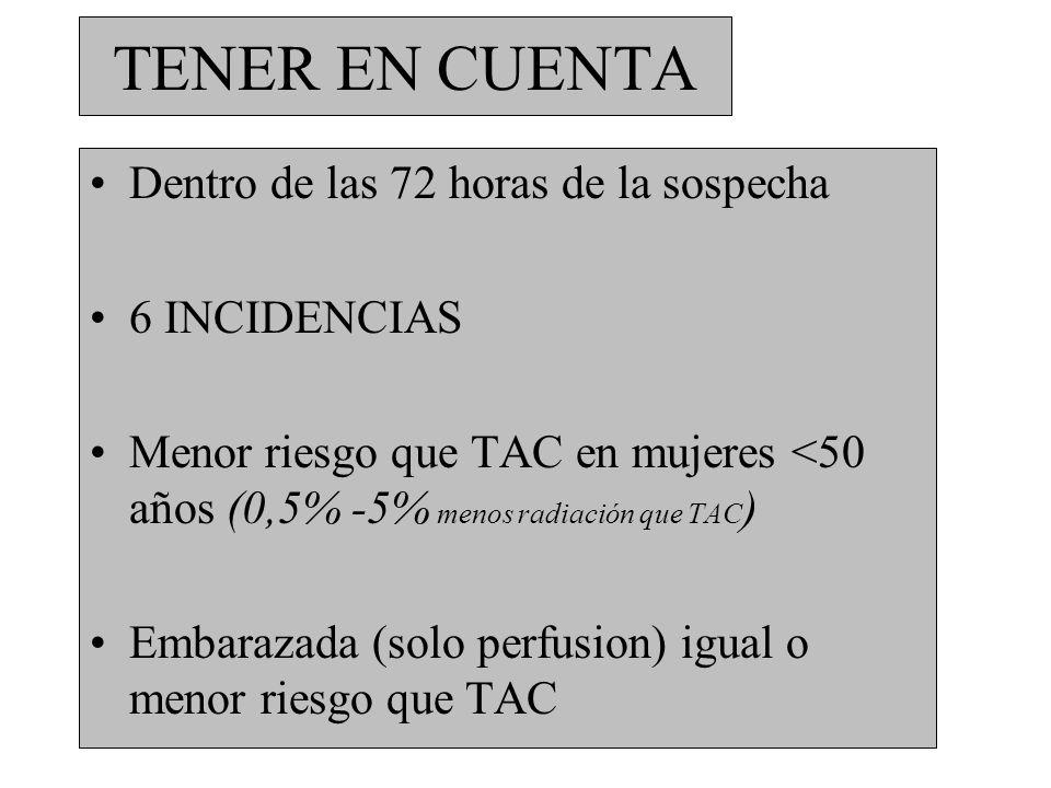 TENER EN CUENTA Dentro de las 72 horas de la sospecha 6 INCIDENCIAS