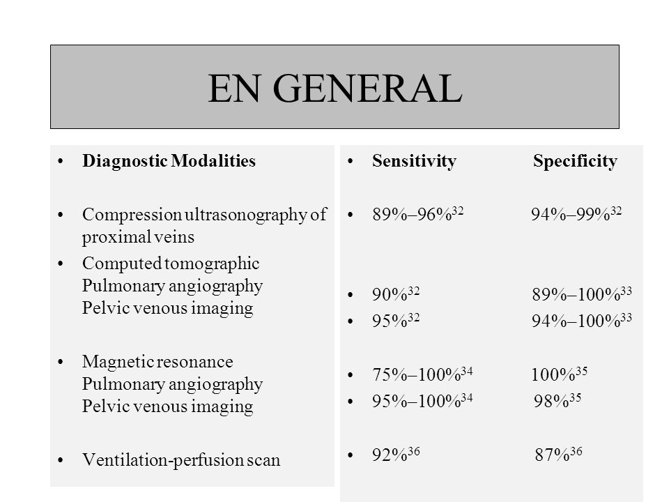 EN GENERAL Diagnostic Modalities
