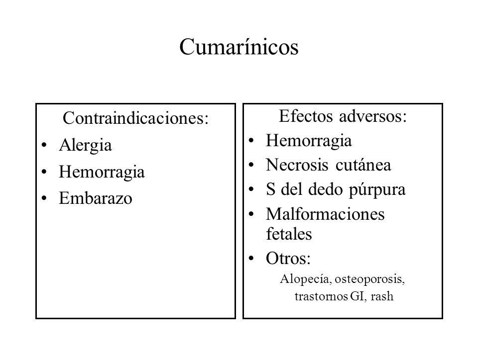Alopecía, osteoporosis,
