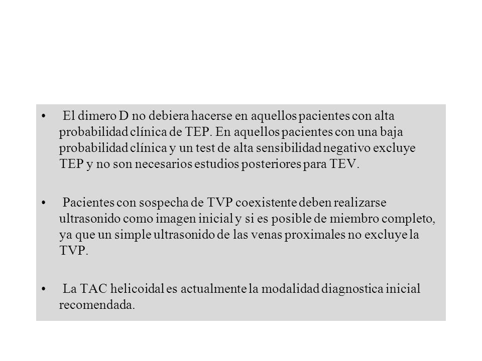 El dimero D no debiera hacerse en aquellos pacientes con alta probabilidad clínica de TEP. En aquellos pacientes con una baja probabilidad clínica y un test de alta sensibilidad negativo excluye TEP y no son necesarios estudios posteriores para TEV.
