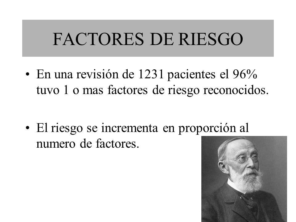 FACTORES DE RIESGO En una revisión de 1231 pacientes el 96% tuvo 1 o mas factores de riesgo reconocidos.