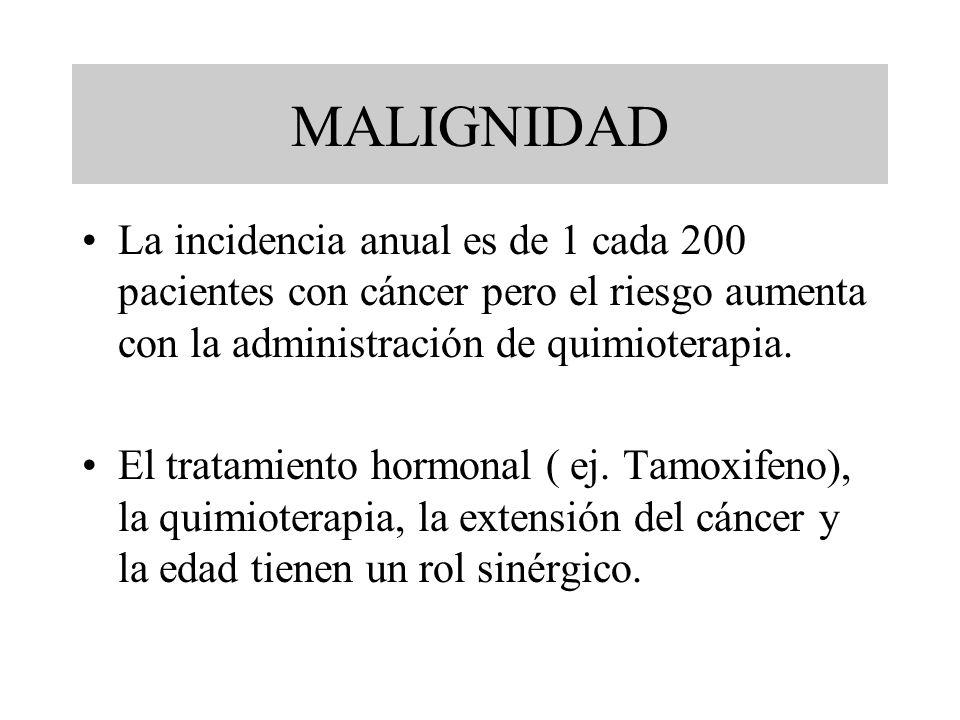 MALIGNIDAD La incidencia anual es de 1 cada 200 pacientes con cáncer pero el riesgo aumenta con la administración de quimioterapia.