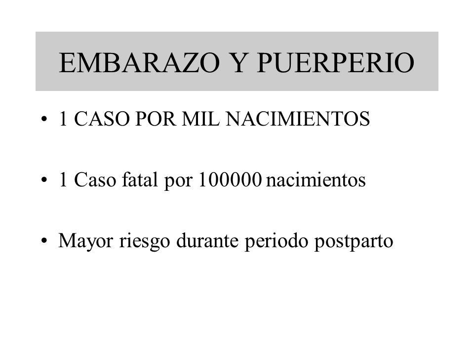 EMBARAZO Y PUERPERIO 1 CASO POR MIL NACIMIENTOS