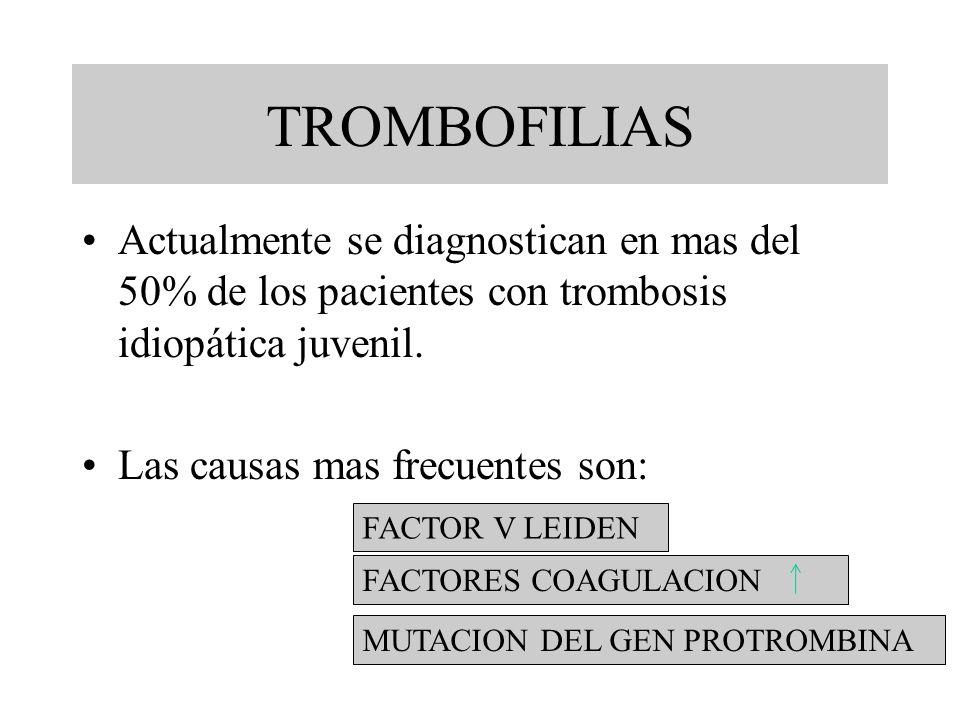 TROMBOFILIAS Actualmente se diagnostican en mas del 50% de los pacientes con trombosis idiopática juvenil.