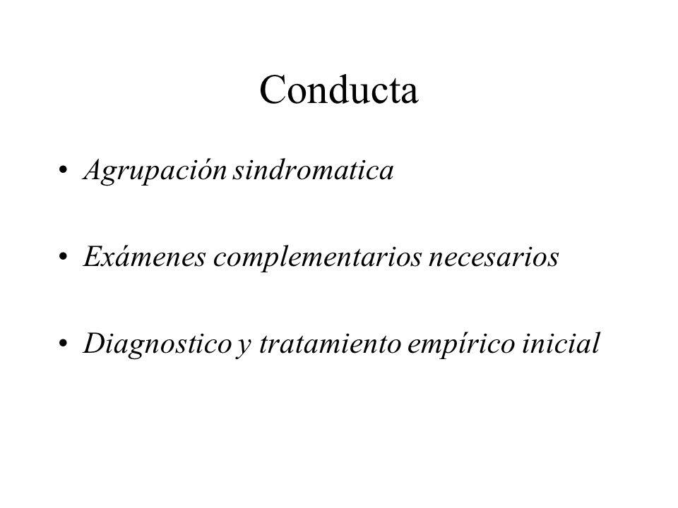 Conducta Agrupación sindromatica Exámenes complementarios necesarios