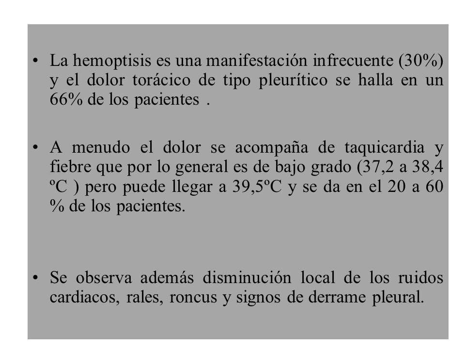 La hemoptisis es una manifestación infrecuente (30%) y el dolor torácico de tipo pleurítico se halla en un 66% de los pacientes .
