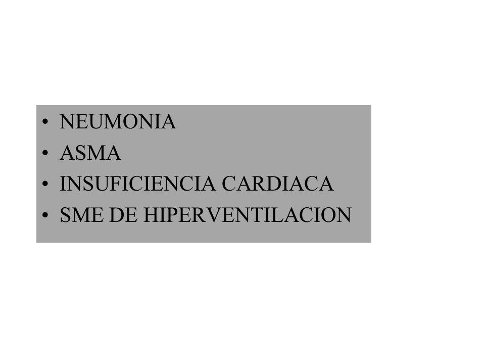 NEUMONIA ASMA INSUFICIENCIA CARDIACA SME DE HIPERVENTILACION