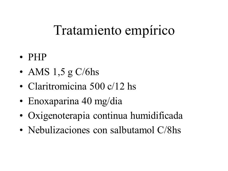 Tratamiento empírico PHP AMS 1,5 g C/6hs Claritromicina 500 c/12 hs