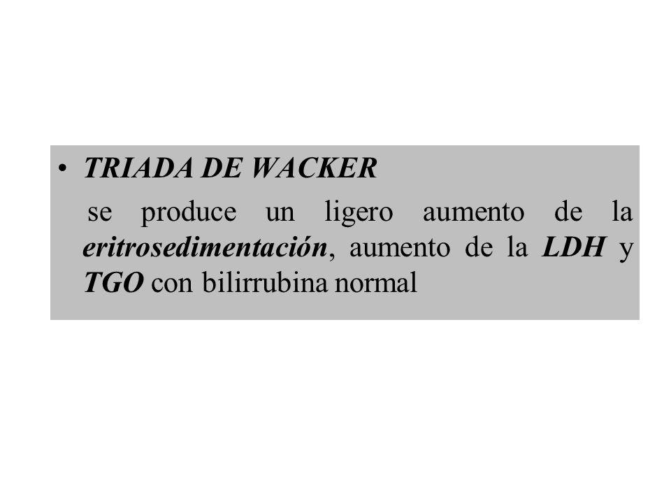 TRIADA DE WACKER se produce un ligero aumento de la eritrosedimentación, aumento de la LDH y TGO con bilirrubina normal.