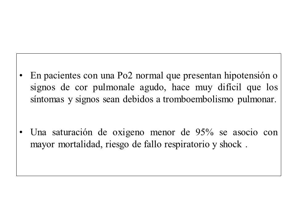 En pacientes con una Po2 normal que presentan hipotensión o signos de cor pulmonale agudo, hace muy difícil que los síntomas y signos sean debidos a tromboembolismo pulmonar.