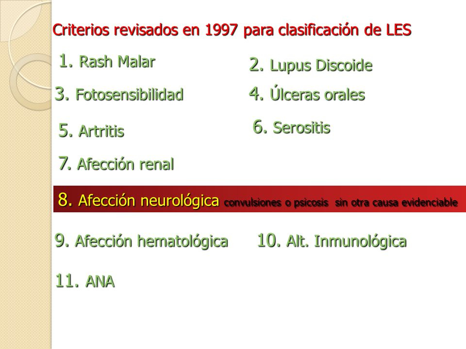 9. Afección hematológica 10. Alt. Inmunológica