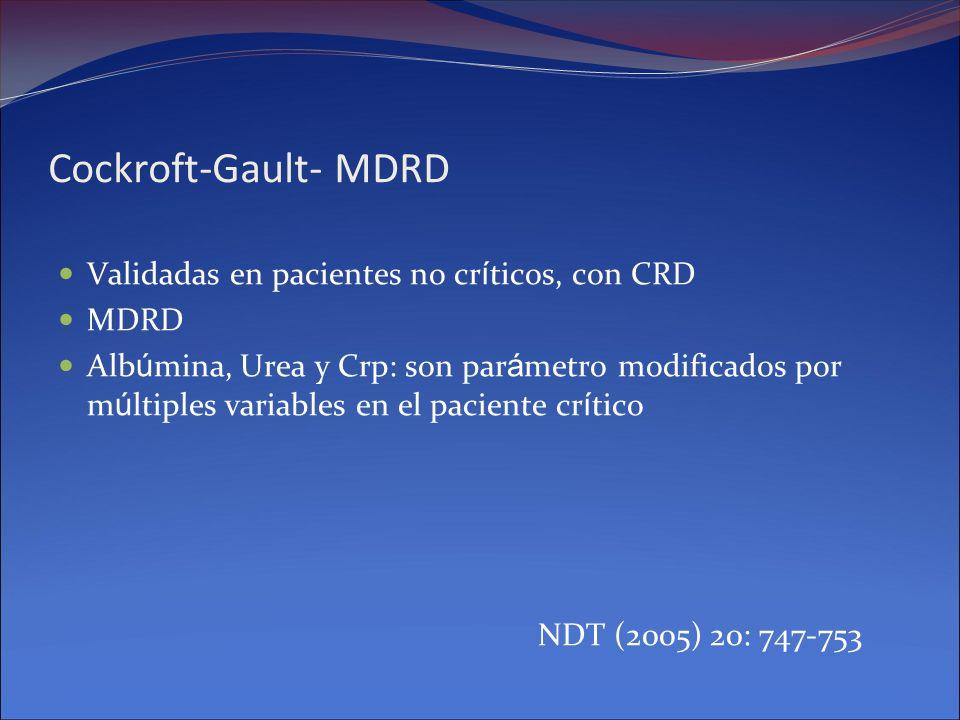 Cockroft-Gault- MDRD Validadas en pacientes no críticos, con CRD MDRD
