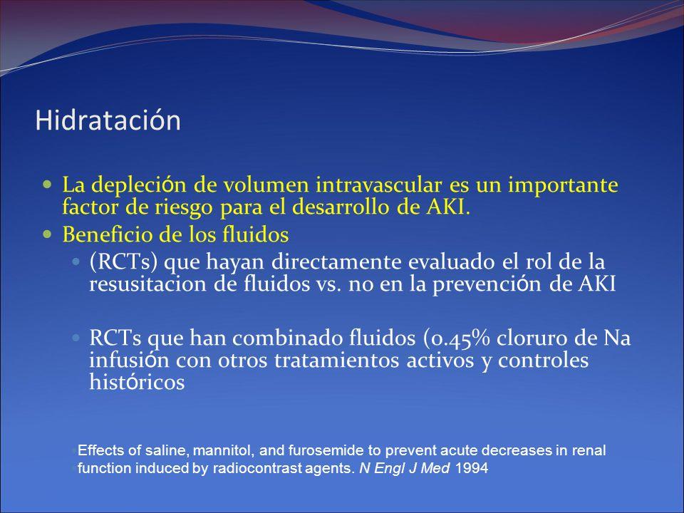Hidratación La depleción de volumen intravascular es un importante factor de riesgo para el desarrollo de AKI.