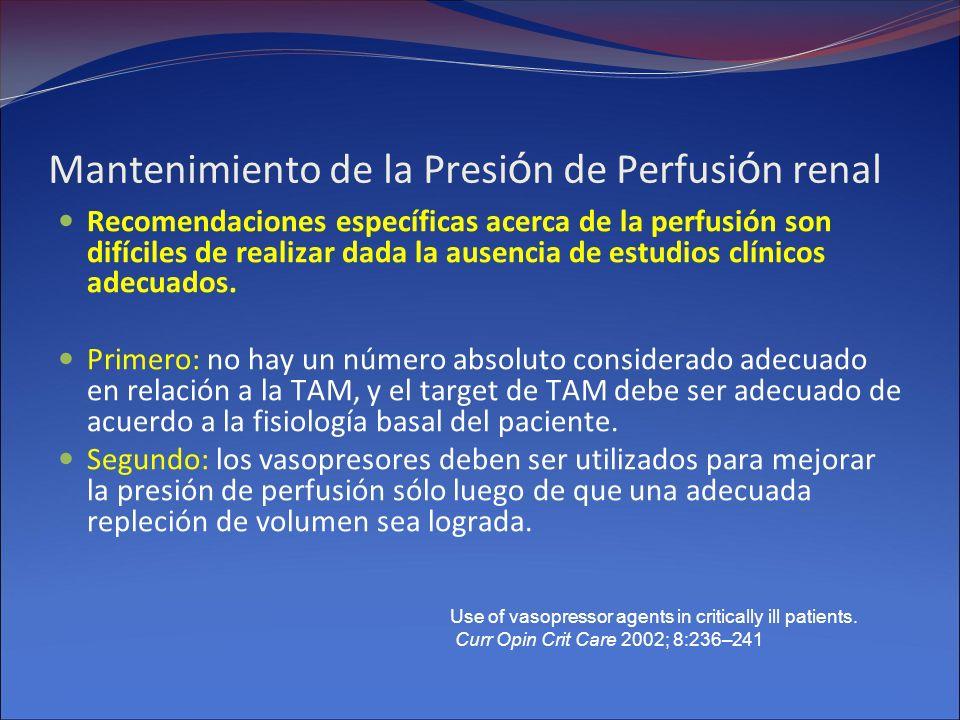 Mantenimiento de la Presión de Perfusión renal