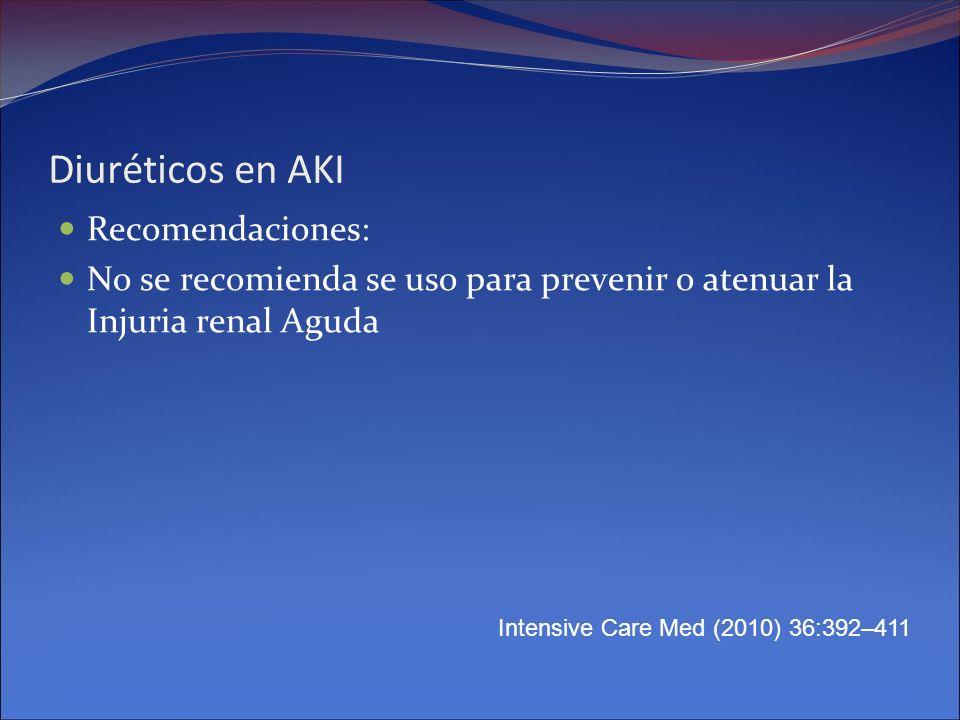 Diuréticos en AKI Recomendaciones: