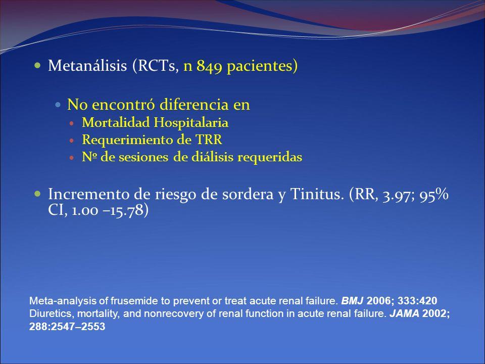 Metanálisis (RCTs, n 849 pacientes) No encontró diferencia en