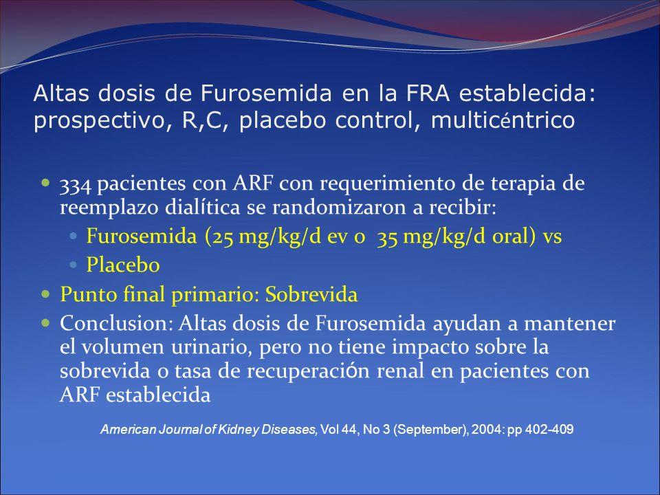 Altas dosis de Furosemida en la FRA establecida: prospectivo, R,C, placebo control, multicéntrico