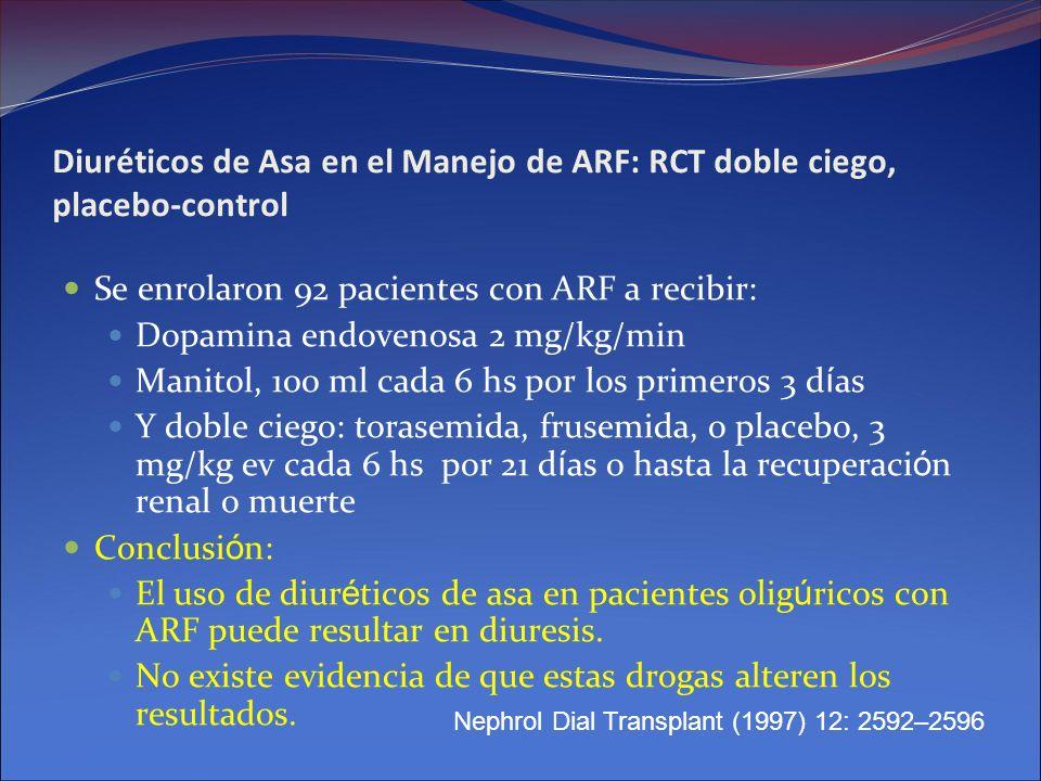 Diuréticos de Asa en el Manejo de ARF: RCT doble ciego, placebo-control