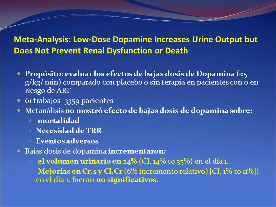 Meta-Analysis: Low-Dose Dopamine Increases Urine Output but Does Not Prevent Renal Dysfunction or Death