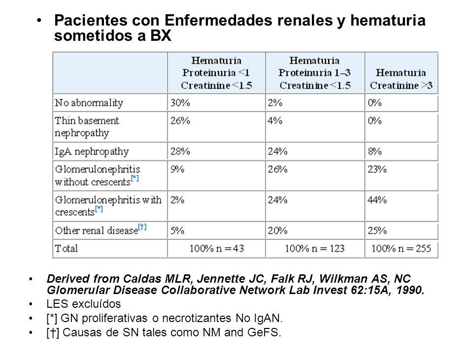 Pacientes con Enfermedades renales y hematuria sometidos a BX