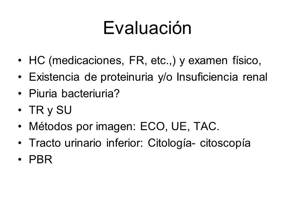 Evaluación HC (medicaciones, FR, etc.,) y examen físico,