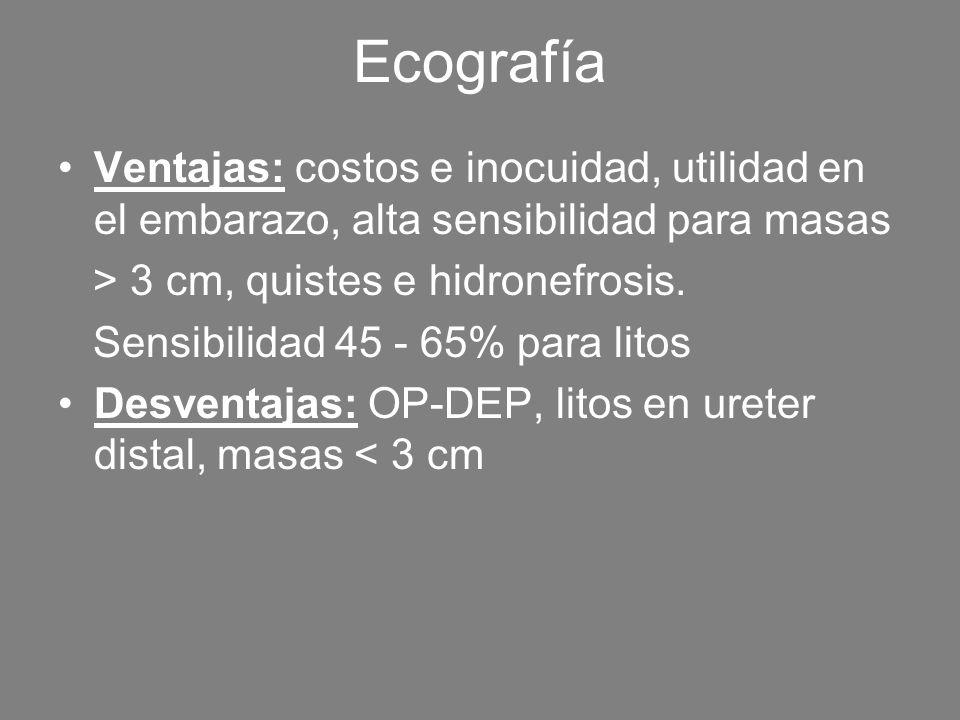 Ecografía Ventajas: costos e inocuidad, utilidad en el embarazo, alta sensibilidad para masas. > 3 cm, quistes e hidronefrosis.