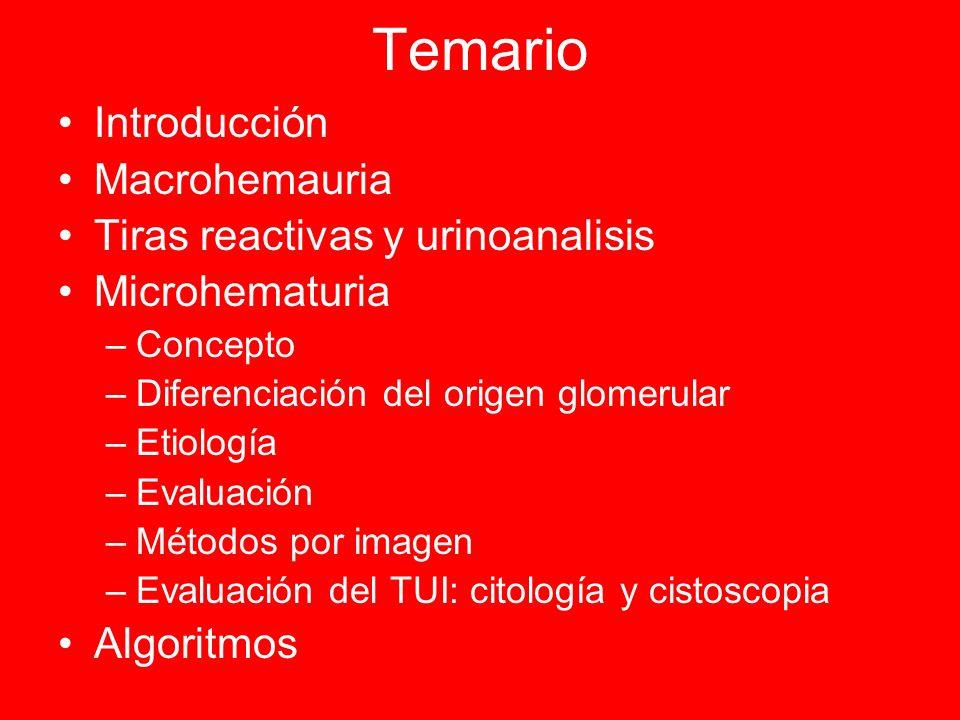 Temario Introducción Macrohemauria Tiras reactivas y urinoanalisis