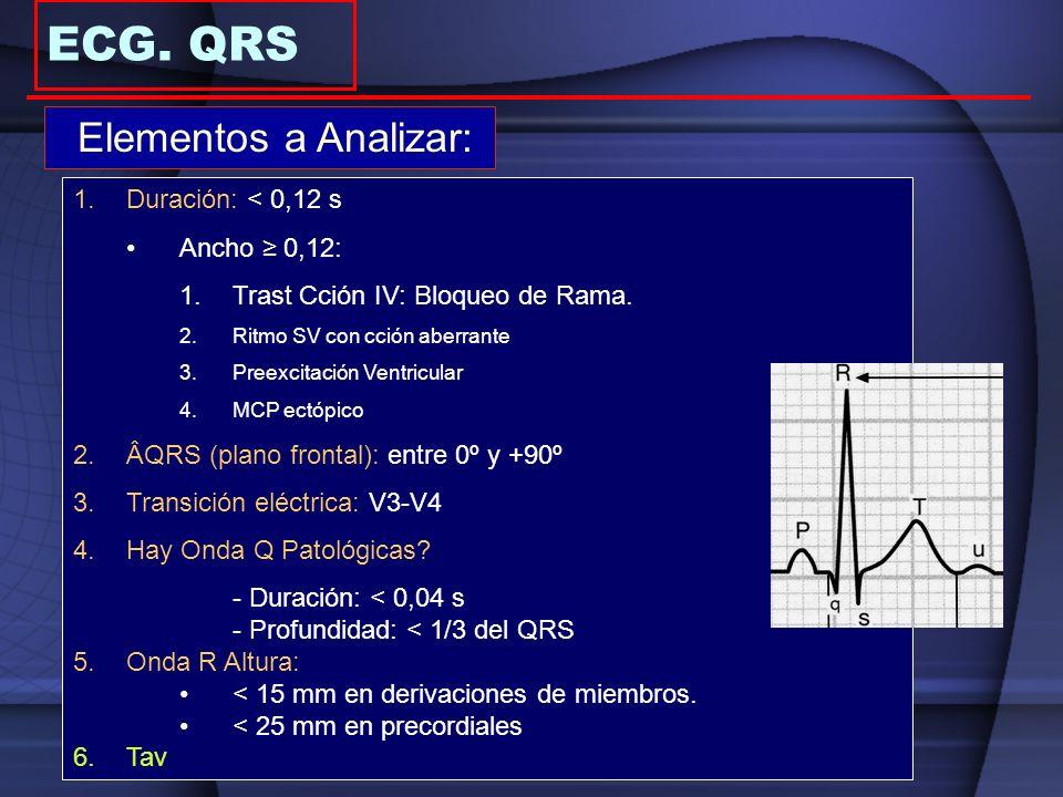 ECG. QRS Elementos a Analizar: Duración: < 0,12 s Ancho ≥ 0,12: