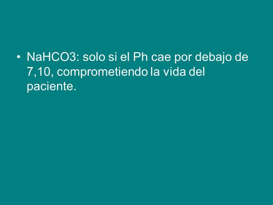 NaHCO3: solo si el Ph cae por debajo de 7,10, comprometiendo la vida del paciente.
