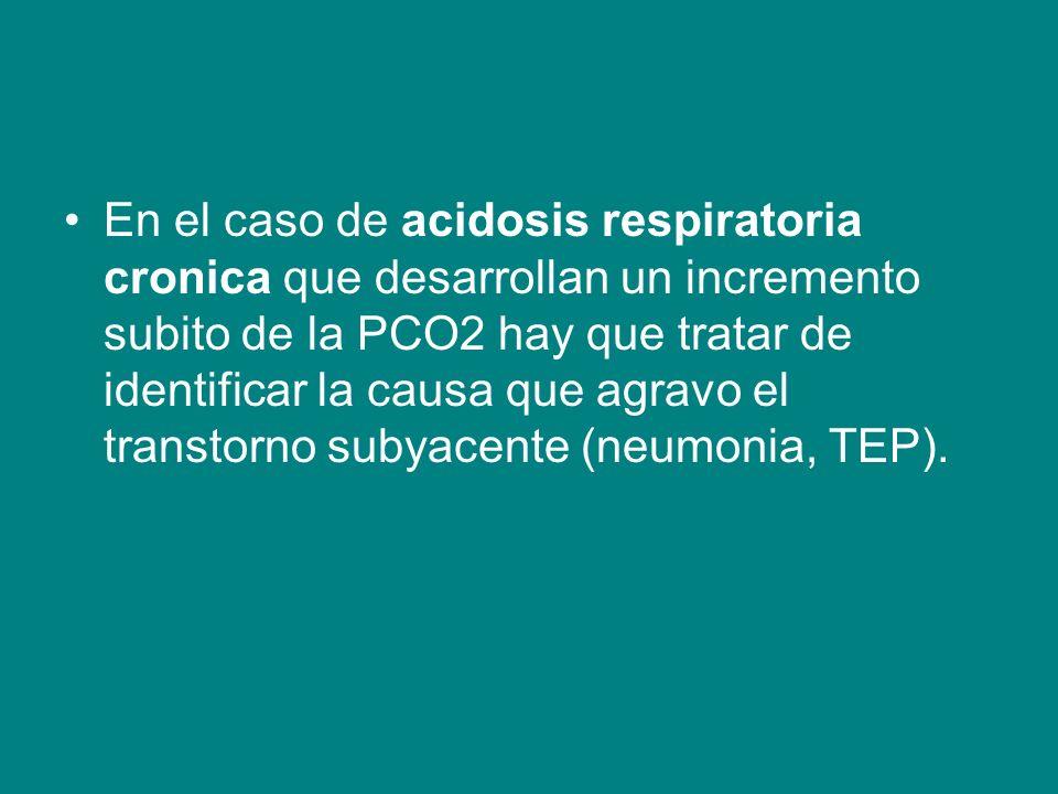En el caso de acidosis respiratoria cronica que desarrollan un incremento subito de la PCO2 hay que tratar de identificar la causa que agravo el transtorno subyacente (neumonia, TEP).