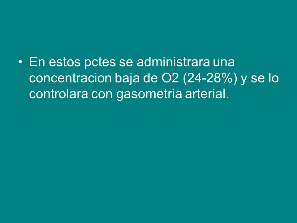 En estos pctes se administrara una concentracion baja de O2 (24-28%) y se lo controlara con gasometria arterial.