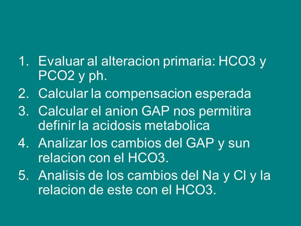 Evaluar al alteracion primaria: HCO3 y PCO2 y ph.