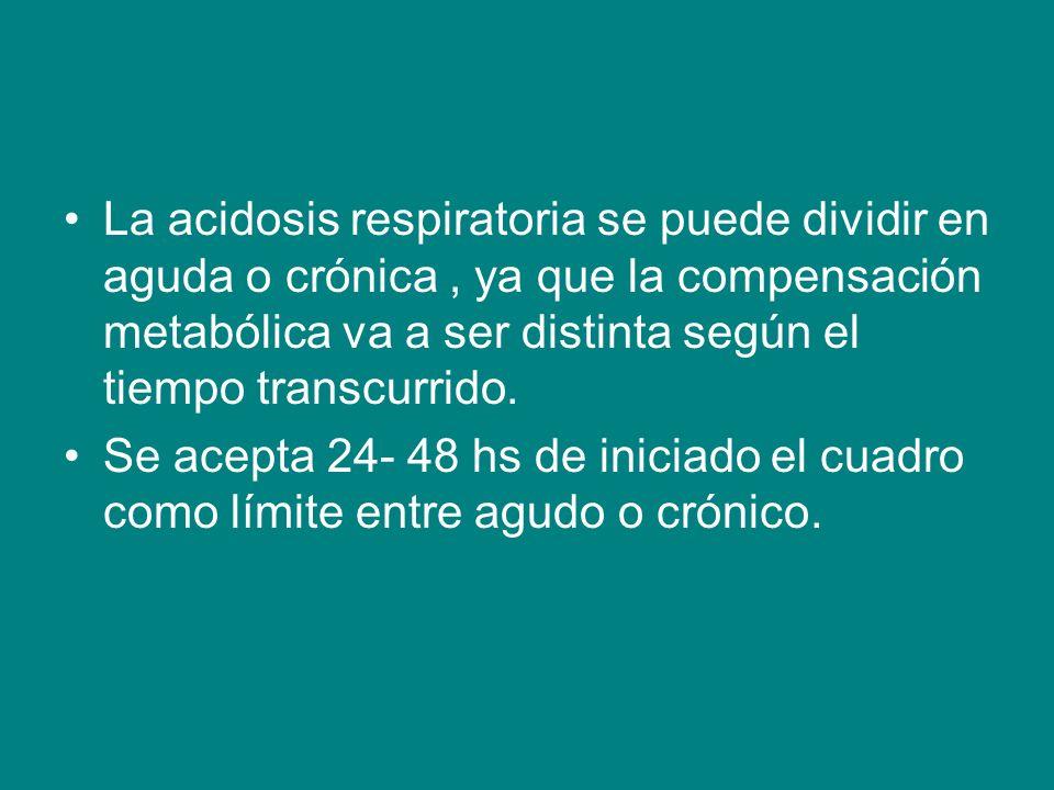La acidosis respiratoria se puede dividir en aguda o crónica , ya que la compensación metabólica va a ser distinta según el tiempo transcurrido.