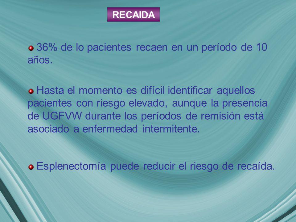 RECAIDA 36% de lo pacientes recaen en un período de 10 años.