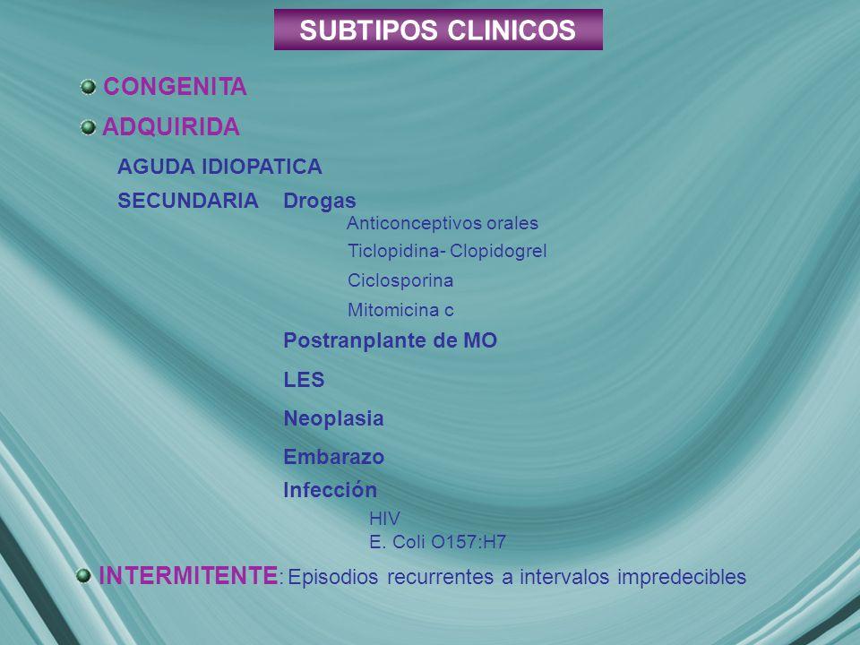 SUBTIPOS CLINICOS CONGENITA ADQUIRIDA