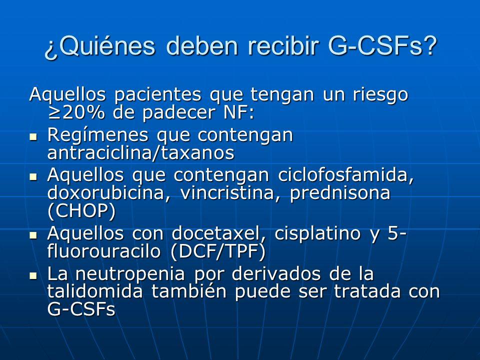 ¿Quiénes deben recibir G-CSFs