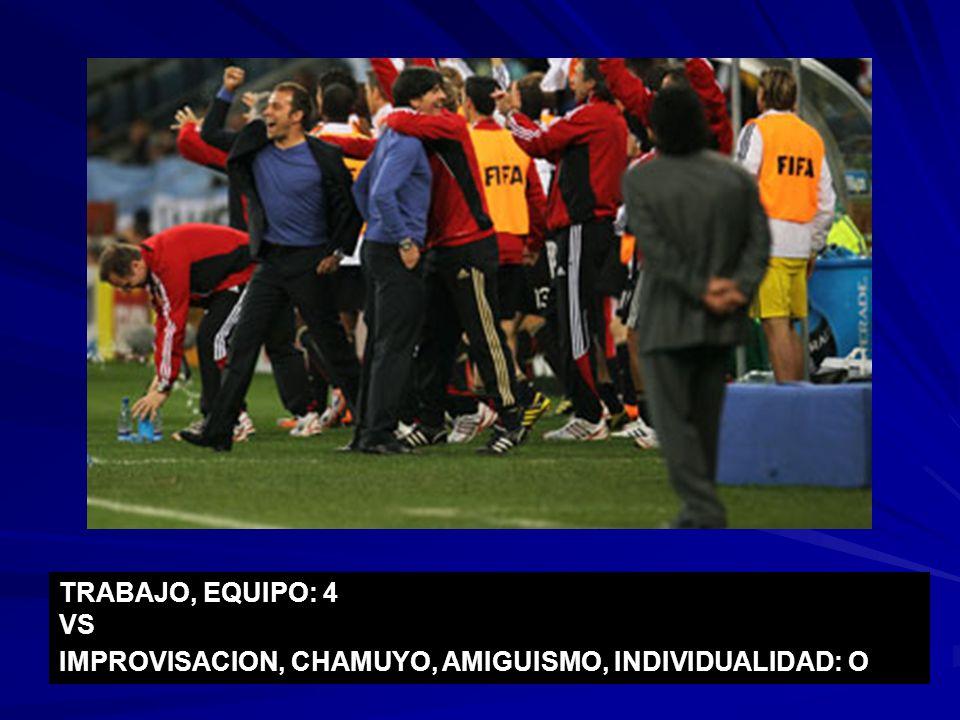 TRABAJO, EQUIPO: 4 VS IMPROVISACION, CHAMUYO, AMIGUISMO, INDIVIDUALIDAD: O