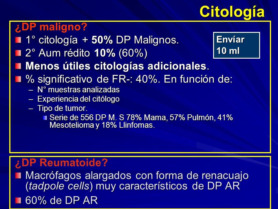 Citología ¿DP maligno 1° citología + 50% DP Malignos.