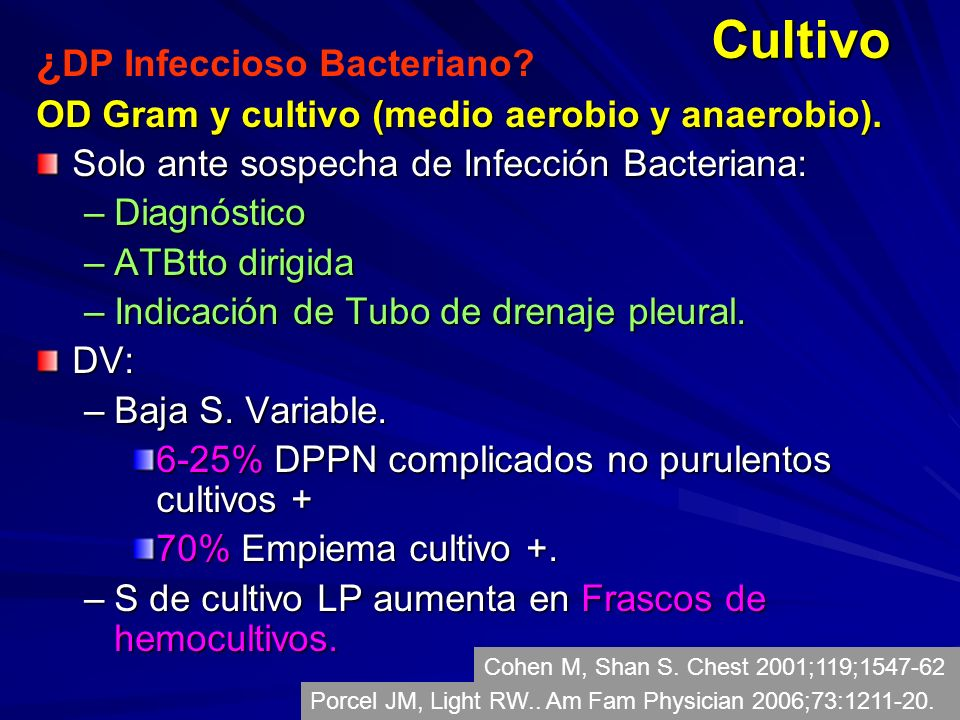 Cultivo ¿DP Infeccioso Bacteriano