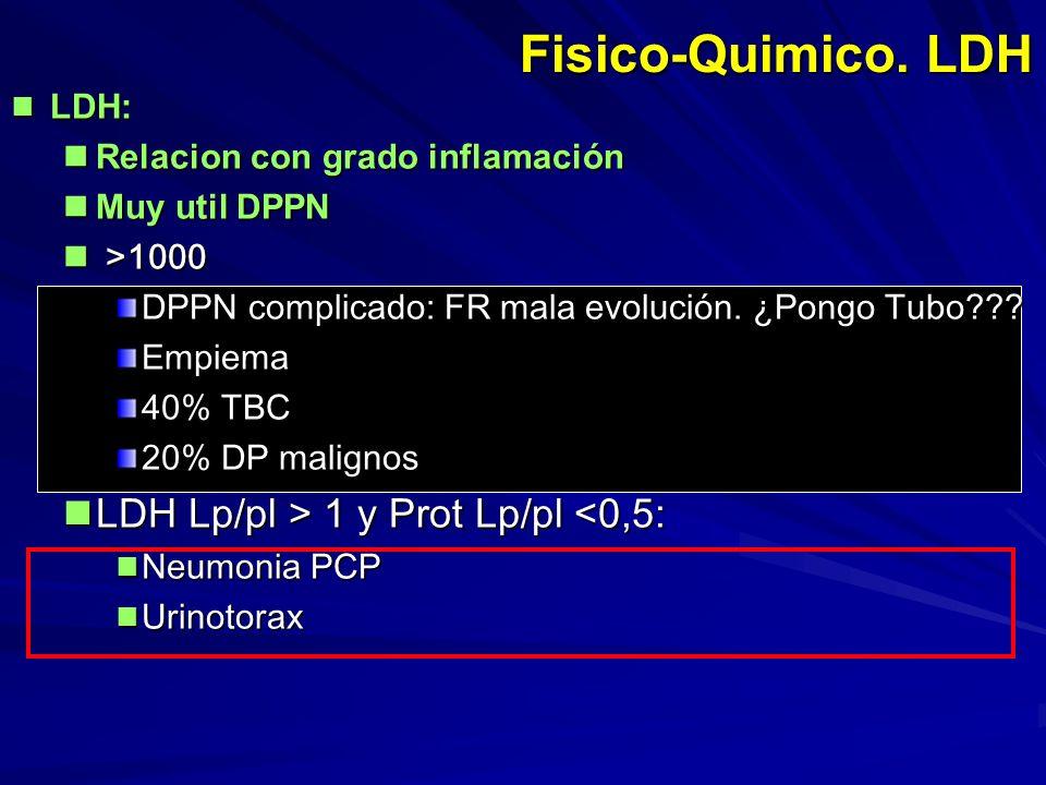 Fisico-Quimico. LDH LDH Lp/pl > 1 y Prot Lp/pl <0,5: LDH: