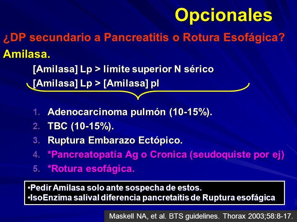 Opcionales ¿DP secundario a Pancreatitis o Rotura Esofágica Amilasa.