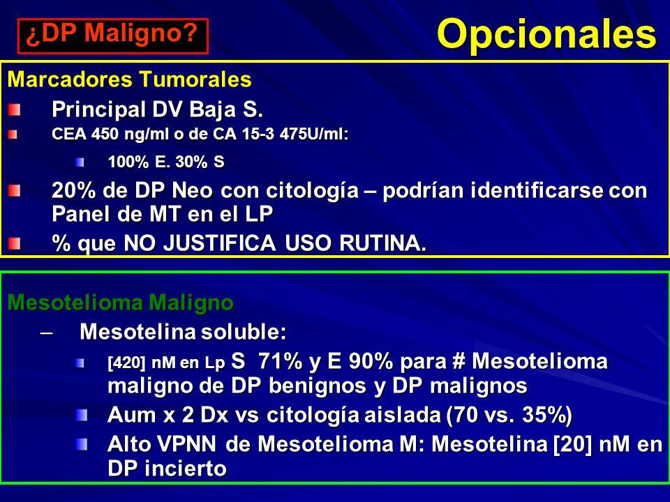 Opcionales ¿DP Maligno Marcadores Tumorales Principal DV Baja S.