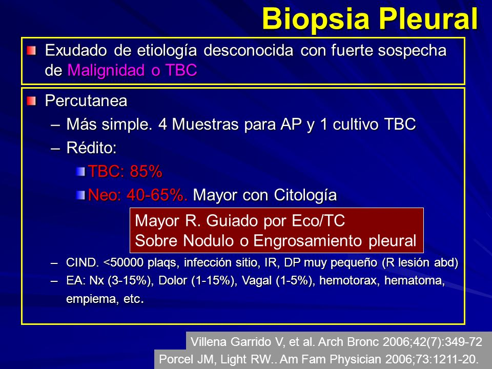 Biopsia Pleural Exudado de etiología desconocida con fuerte sospecha de Malignidad o TBC. Percutanea.